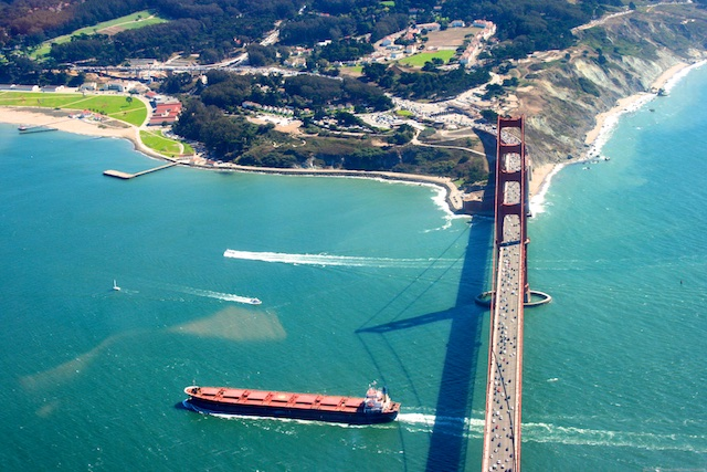 Freight shipping liners under the Bay Bridge