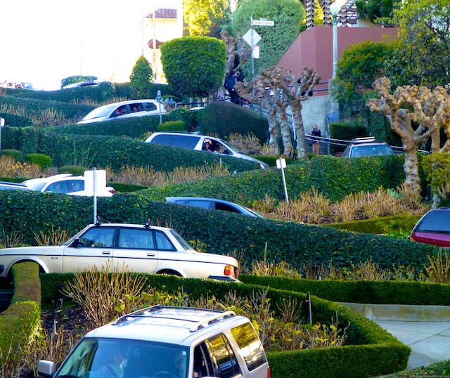 Descending Lombard Street, San Francisco