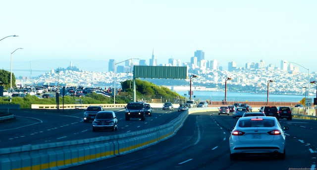 Approaching the Golden Gate Bridge from Marin County