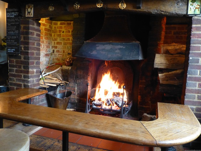 Lunch by the fireside in The Frog Pub, Skirmett, England