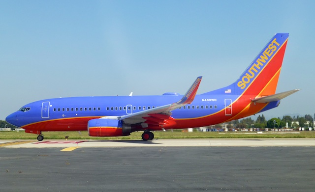 Southwest Airlines taking off ahead of us at John Wayne Airport, Orange County, Southern California