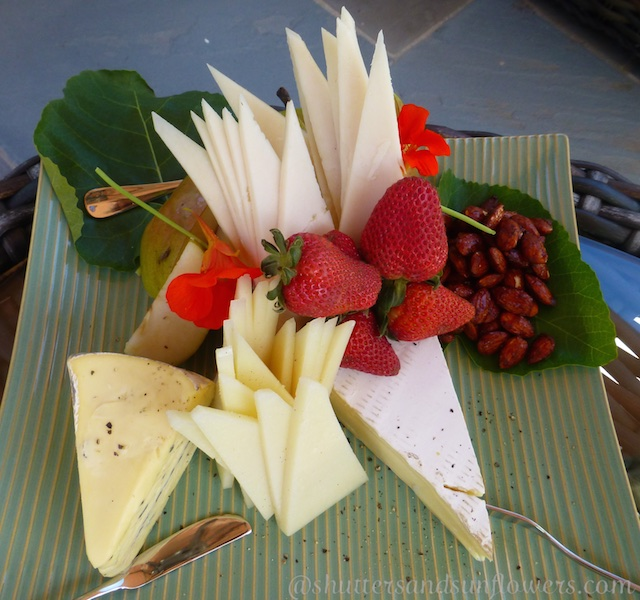 A cheese board at a Californian bridal shower