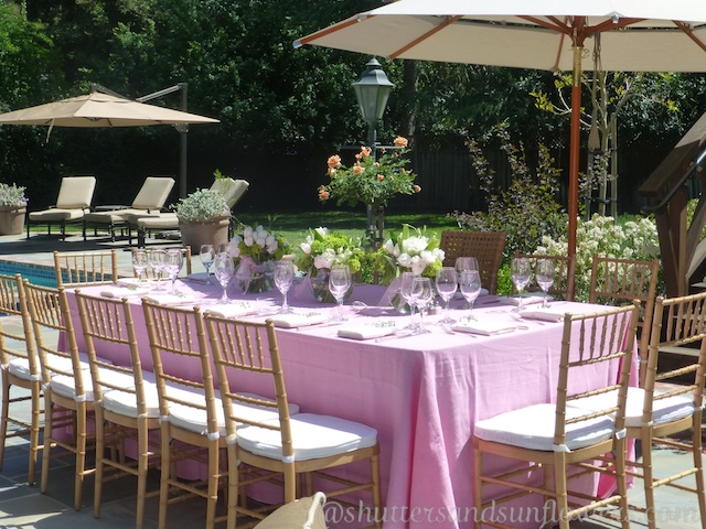 bridal shower table in a Californian garden