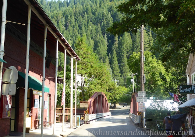 Historic bridge in Downieville California, Gold Rush town on Route 49