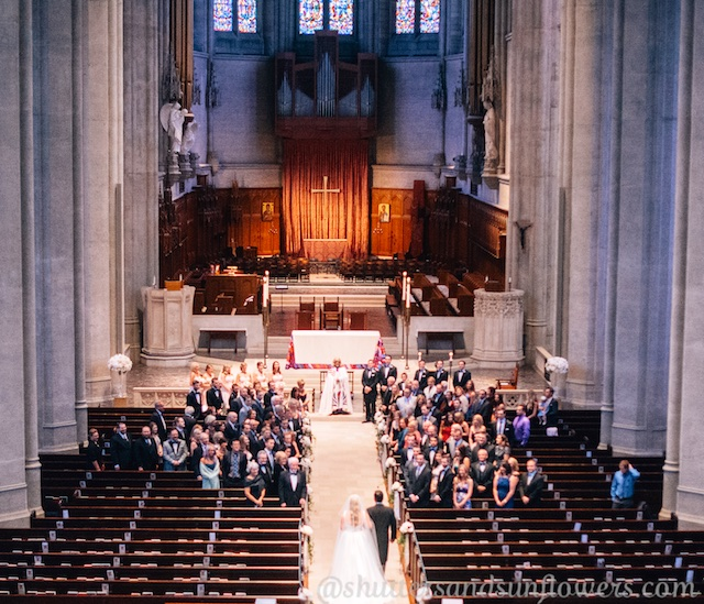 Wedding processional, down the aisle at Grace Cathedral