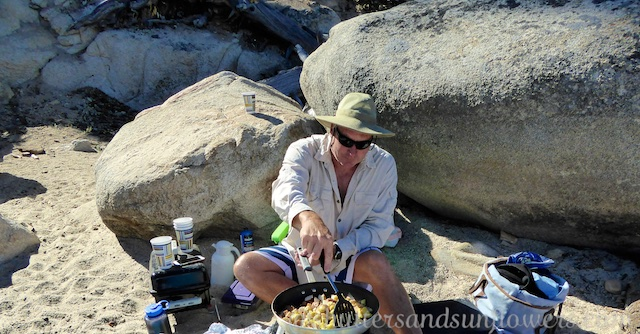 Cooking breakfast on the beach at Lake Tahoe