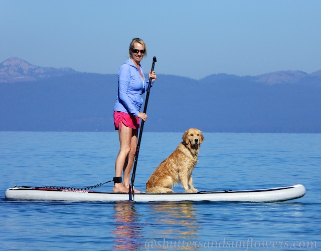 Paddle boarding with your best friend from the East Shore of Lake Tahoe, California