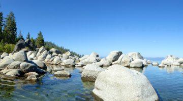 The shore line of East Shore Lake Tahoe, California