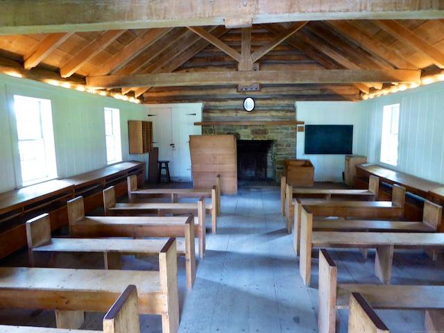 Inside an 1836 American school house
