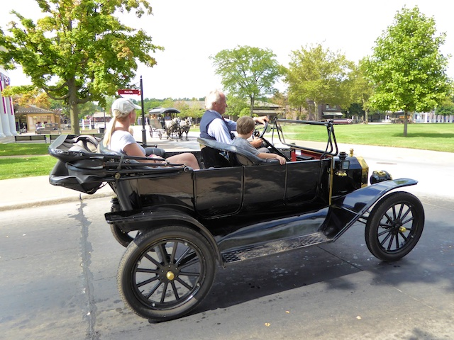 Touring Greenfield Village in a vintage Ford Model car
