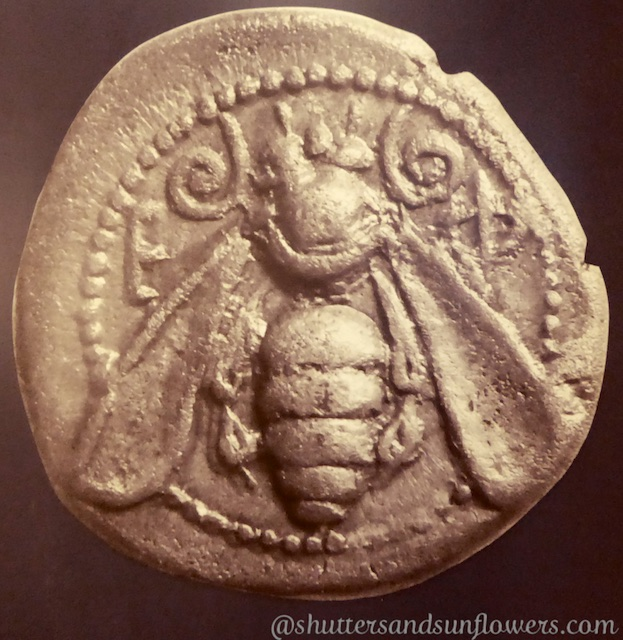 Early coin with the symbol of the bee, in the Museum of Selcuk near Ephesus,Turkey