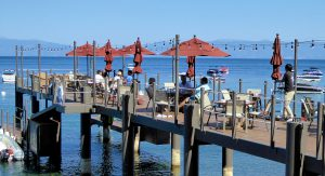 Lunch on the deck of West Shore Cafe, Lake Tahoe, California, USA