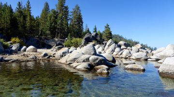 The shore of East Shore Lake Tahoe, California