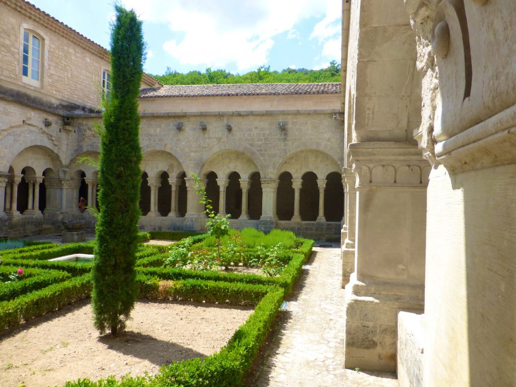 View at the cloisters of l'Abbaye Notre-Dame de Sénanque, Provence, France