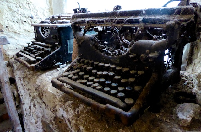 Disused typewriters at the Islay Woollen Mill, Islay, Scotland