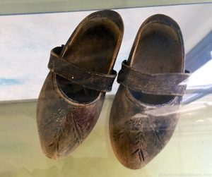 A Jewish child's pair of clogs in the Hollandsche Schouwburg, Amsterdam