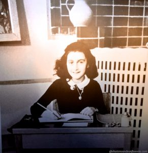 Anne Frank writing, Anne Frank House, Amsterdam