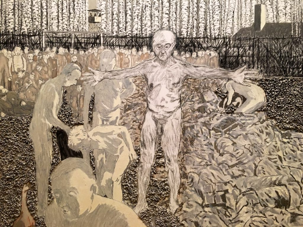 Painting 8 of Jeroen Krabbé's painting's 'The Demise of Abraham Reiss', Sobibor,1943