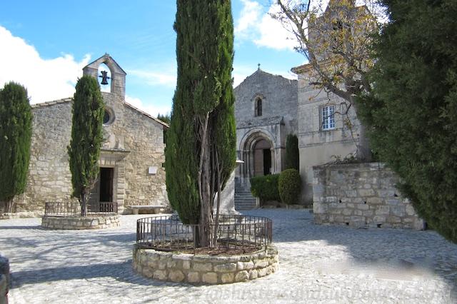 Church square and chapel at Les Baux de Provence, Provence, France