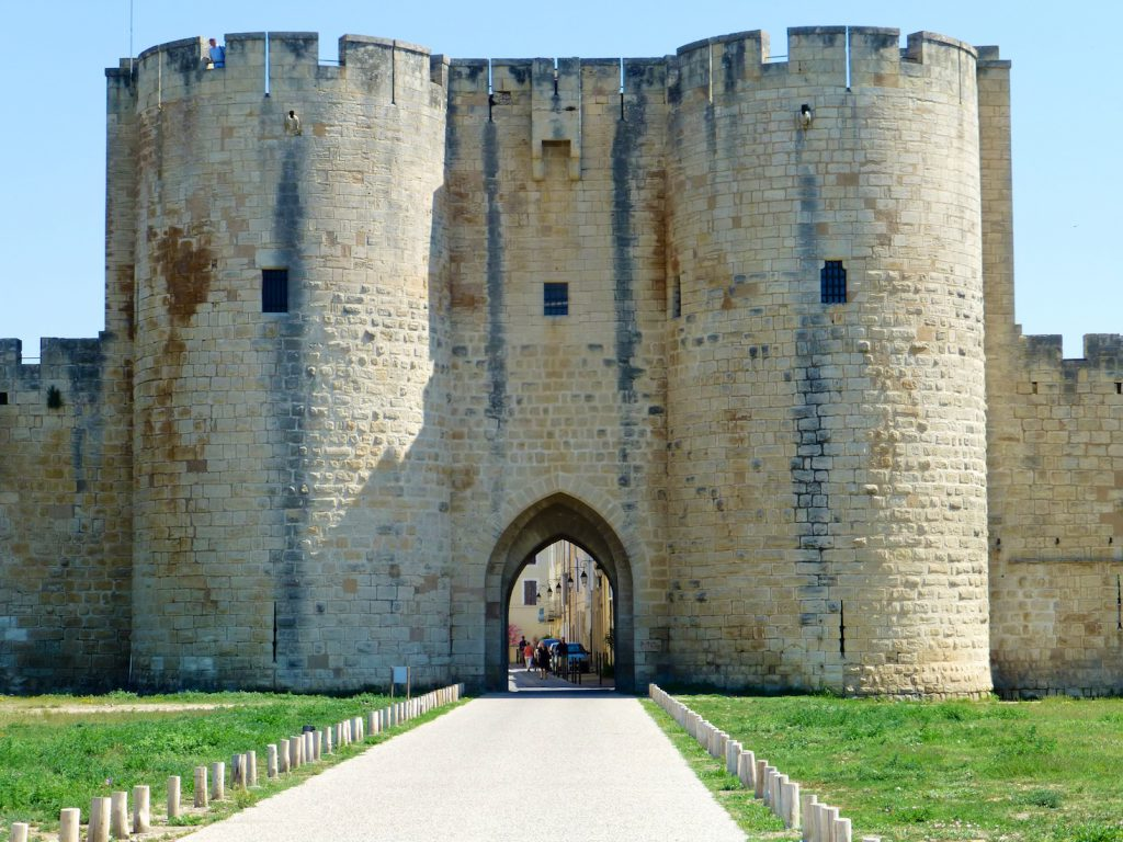 Gates to the walled Medieval city of Aigues-Mortes, France