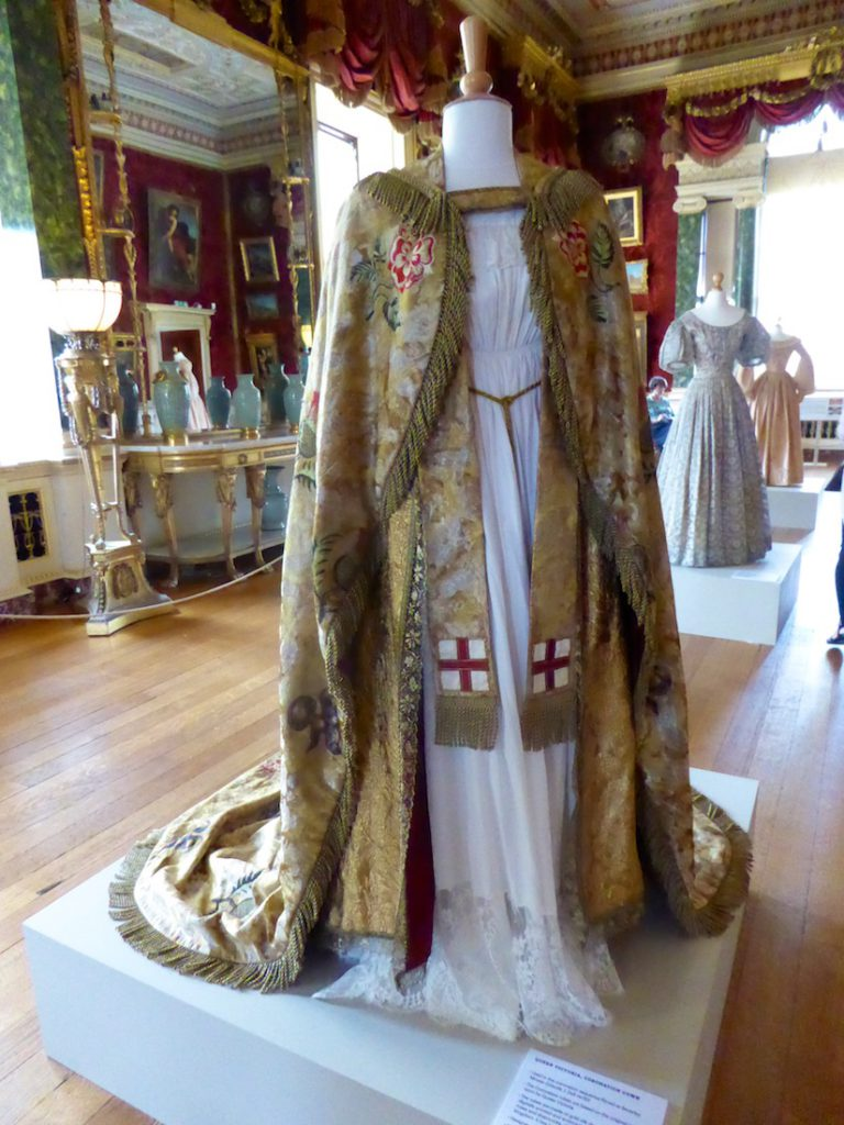 Queen Victoria's Coronation robes for the ITV production of 'Victoria', Harewood House, Yorkshire, England