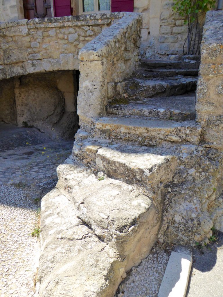 Stone steps in Grambois, Luberon, Vaulcuse, Provence, France