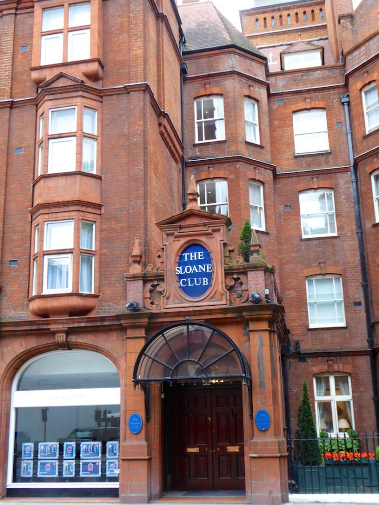 Entrance to the Sloane Club, Chelsea, London, UK