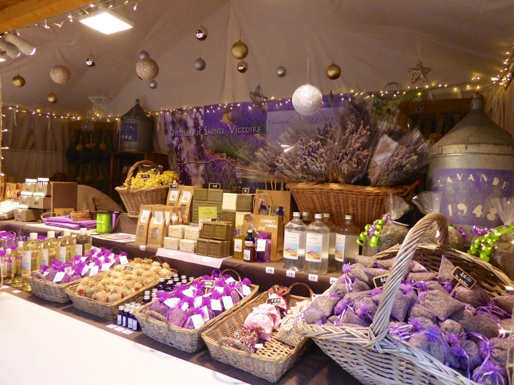 Lavender products in the Marché de Noël in Aix-en-Provence, Bouche du Rhone, Provence, France