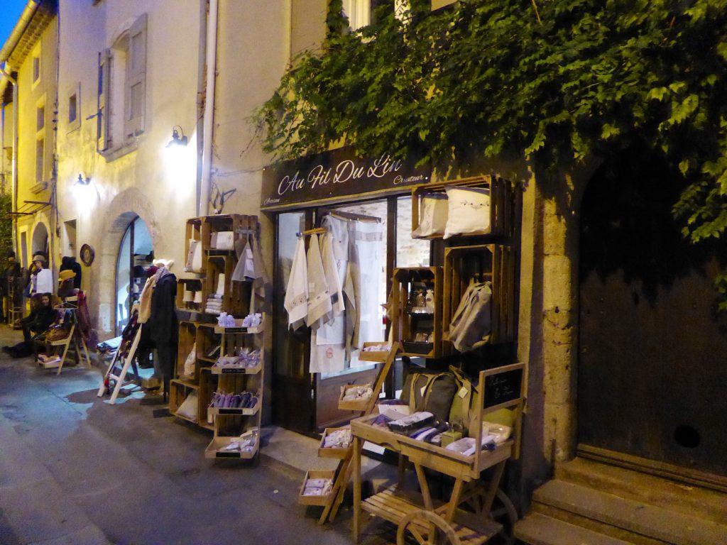Lourmarin street at Christmas at dusk, Luberon, Provence, France