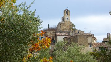 The Lourmarin clock tower in autumn, Luberon, Provence