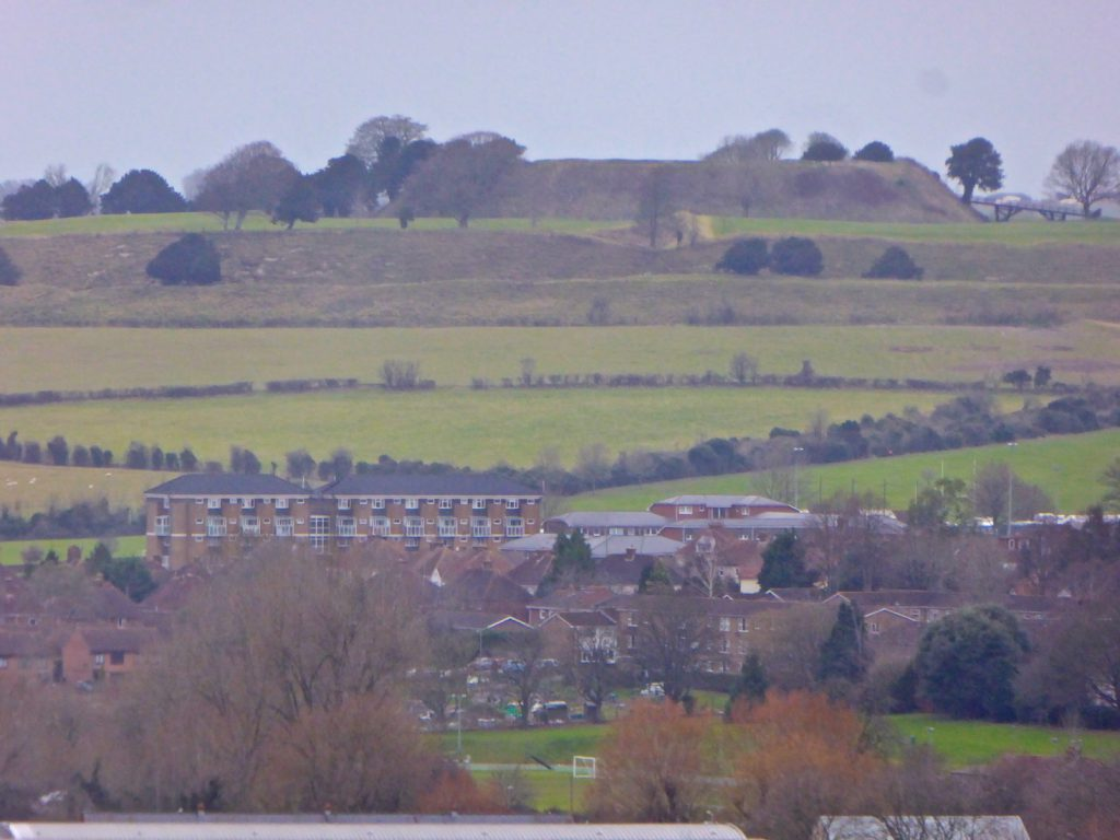 Close up view of Old Sarum from the top of Salisbury Cathedral tower, Salisbury, Wiltshire, England