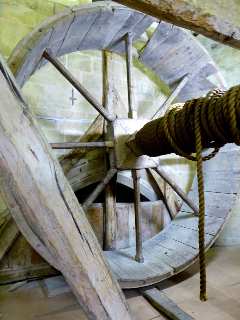 Medieval Windlass,to winch material to build the spire, Salisbury, Wiltshire, England