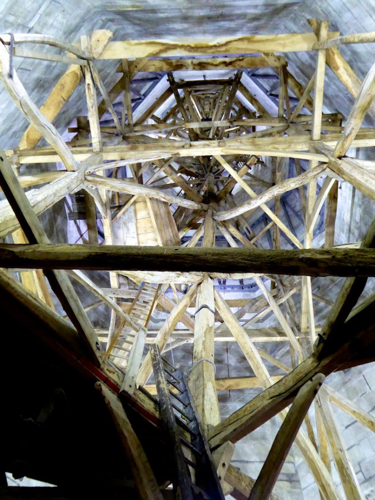 Medieval scaffolding for the spire of Salisbury Cathedral, Salisbury, Wiltshire, England