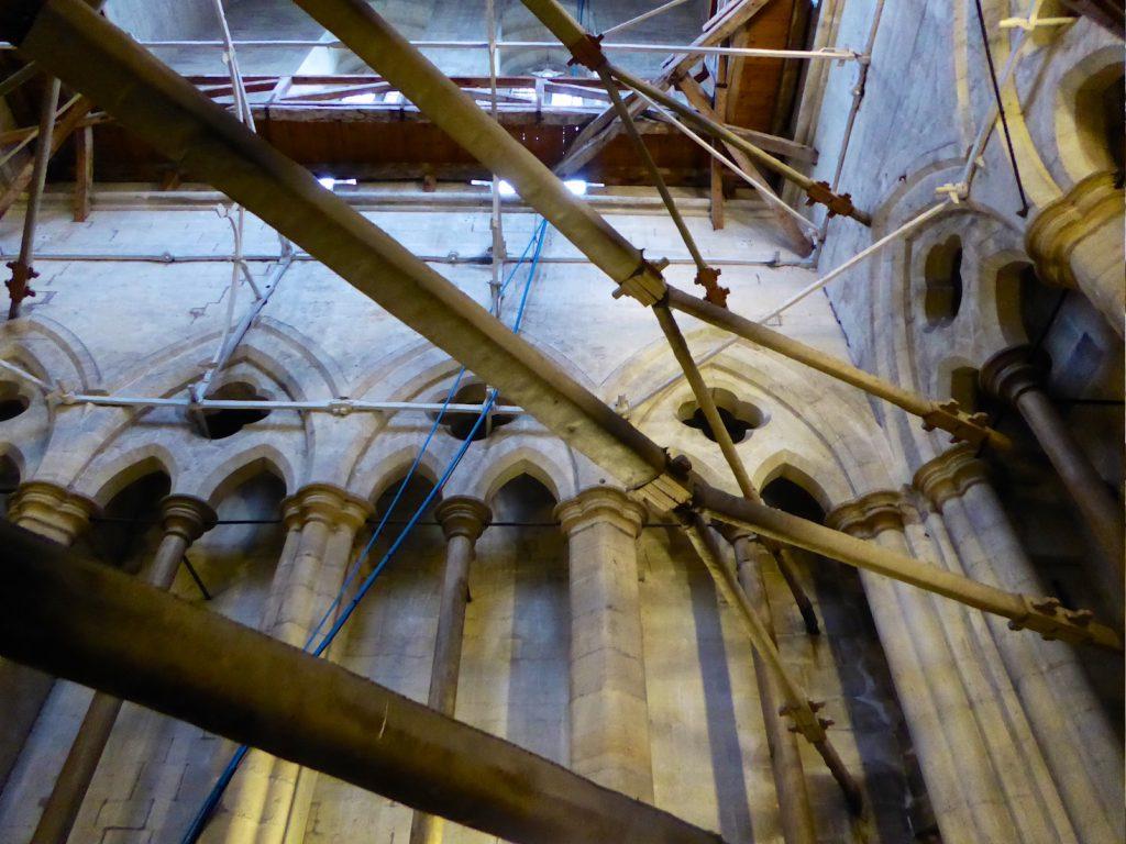 Salisbury cathedral medieval tower scaffolding, Salisbury, Wiltshire, England