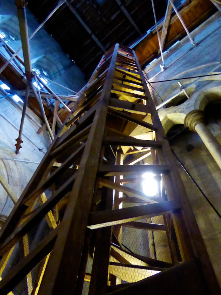 Salisbury cathedral wooden stairs to climb the medieval tower, Salisbury, Wiltshire, England