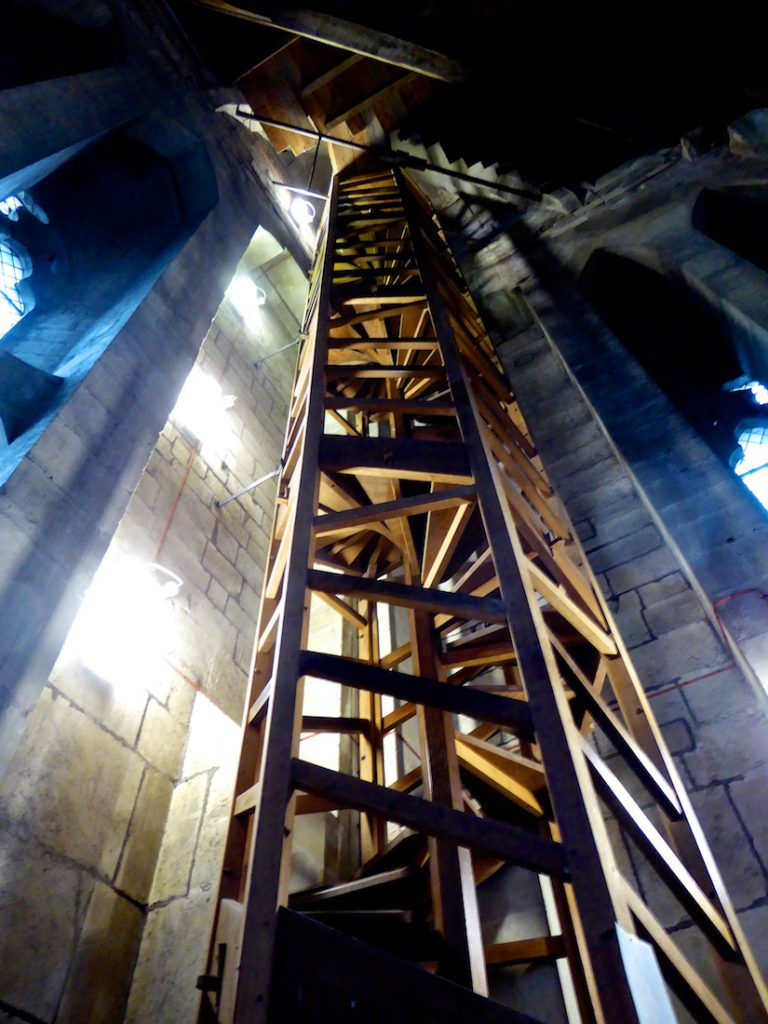 Wooden steps Salisbury cathedral 2nd wooden steps to climb the medieval tower below the spire