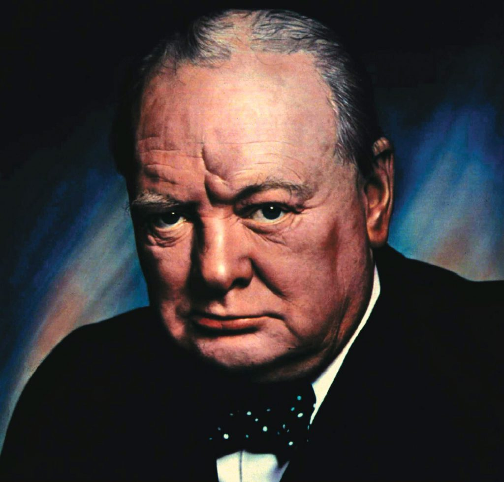 Sir Winston Churchill, born at Blenheim Palace, Oxfordshire, England
