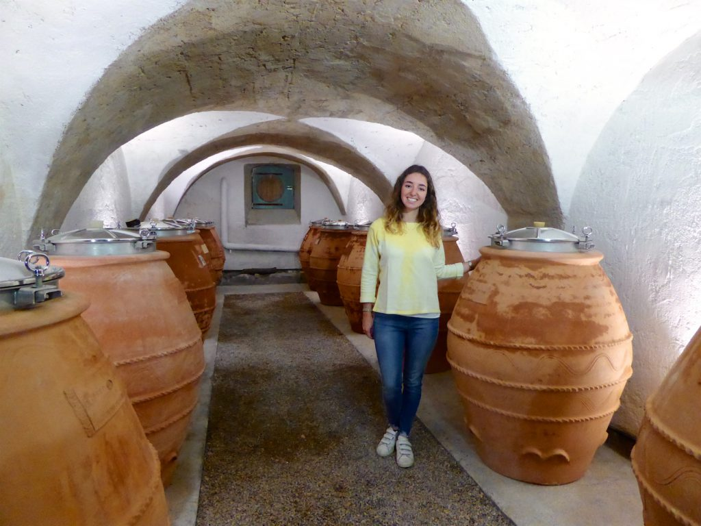 Camille Bagnis by the terracotta wine barrels at Le Château Constantin, Lourmarin, Luberon, Vaucluse, Provence, France