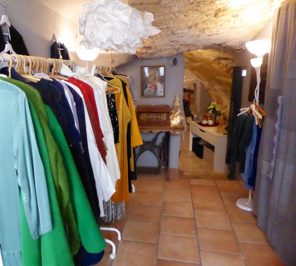Clothes for sale at KOT Interior Shop Lourmarin, Luberon, Vaucluse, Provence, France