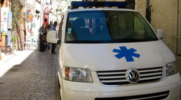 Medical crisis in Uzes, ambulance on Rue du Grande Bougarde Uzes