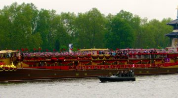 The Royal Barge at Queen Elizabeth's Diamond Jubilee, River Thames, London, England