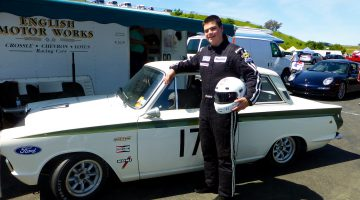 James ready to go in 1968 Lotus Cortina at Sonoma Raceway