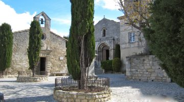 Church square in Les Baux-de-Provence, Provence, France
