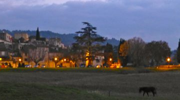 Lourmarin view at night, Lourmarin, Luberon, Provence