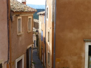 Ochre coloured buildings in Rousillon Provence, France