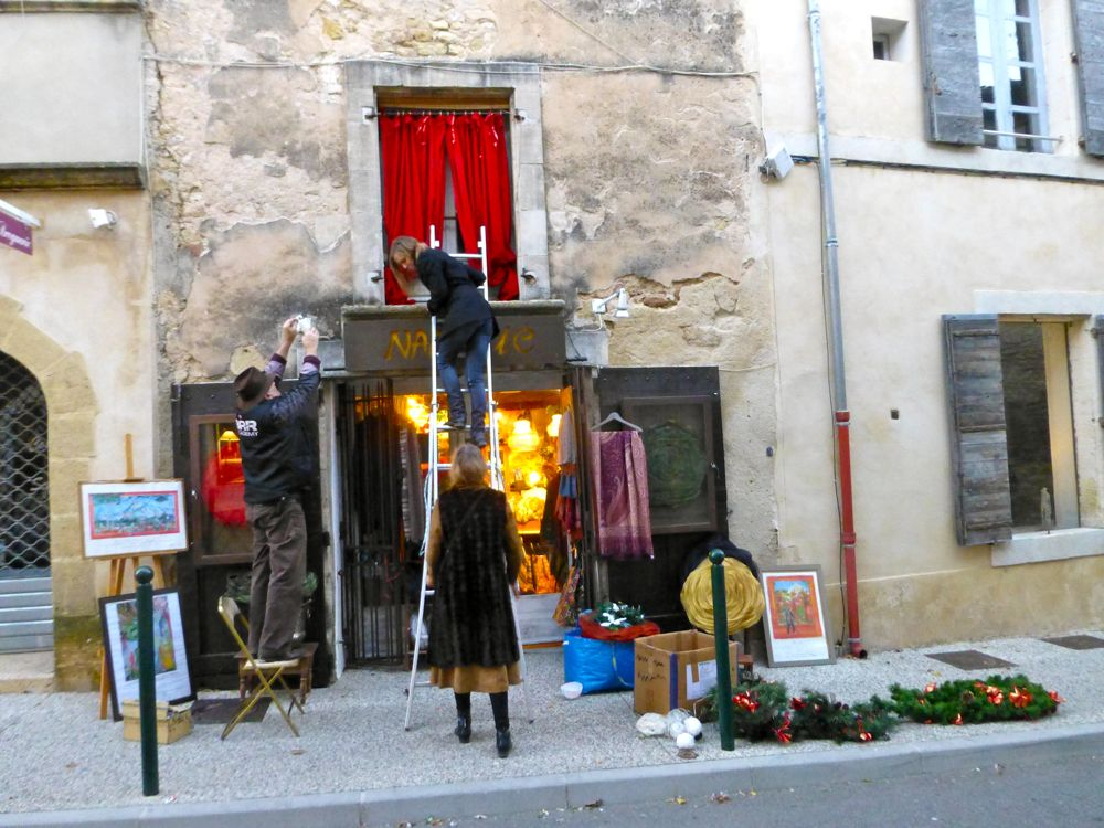 Christmas shop front decorating in Lourmarin Provence, France