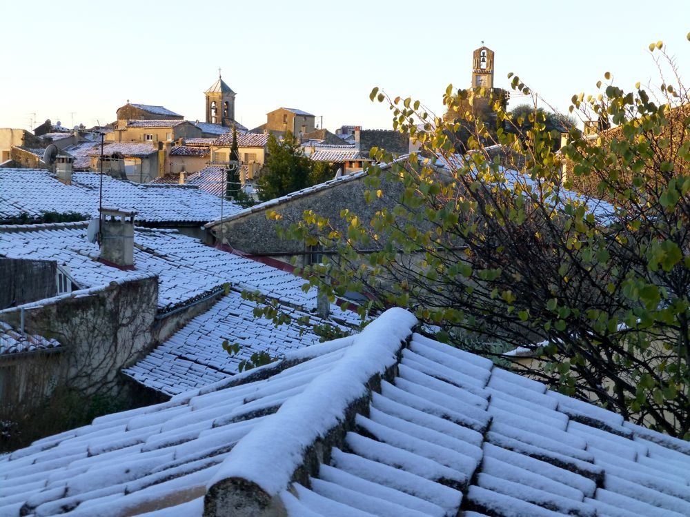 December snow on the roof tops in Lourmarin, Provence, France