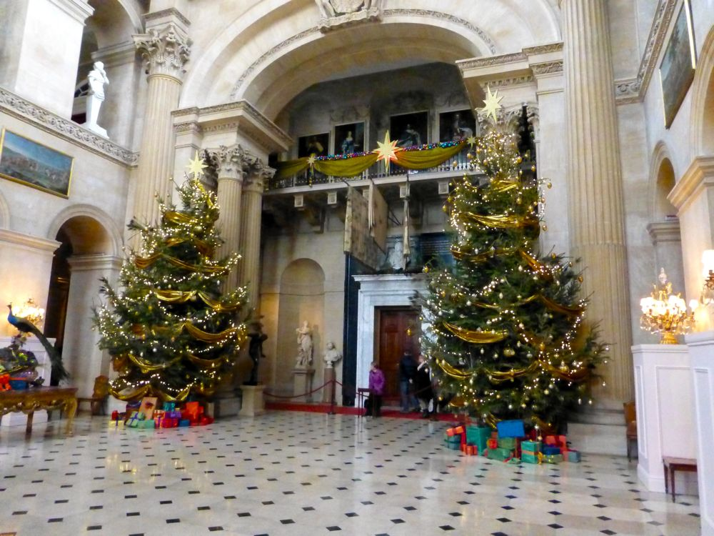 Christmas trees in the hallway at Blenheim Palace, Woodstock, England