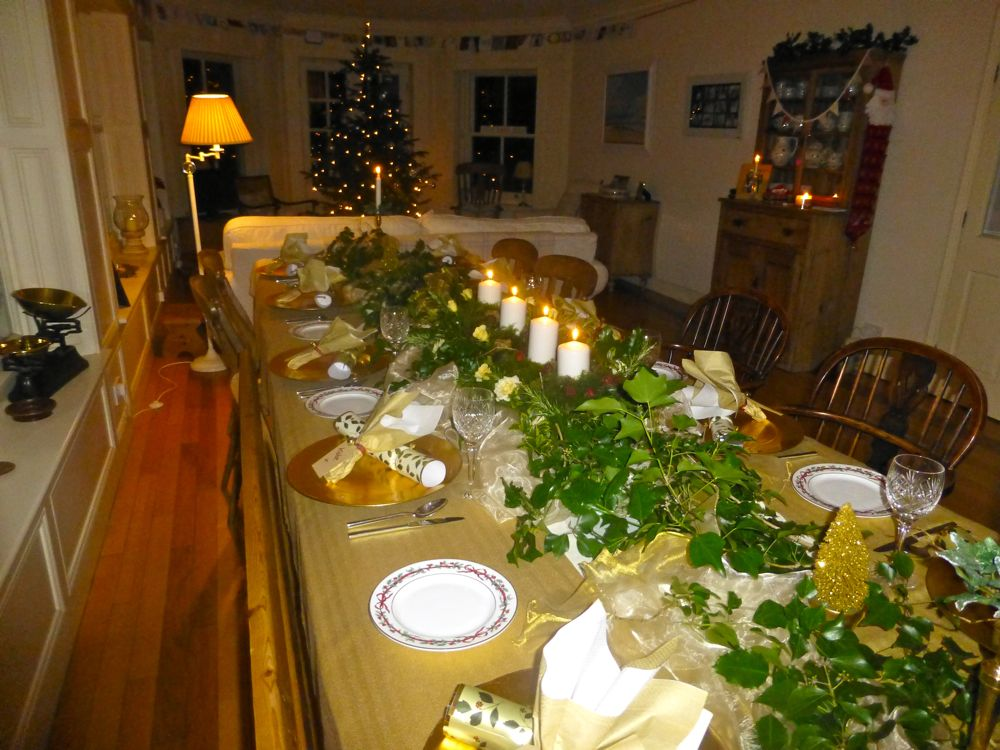 Stunning Christmas Table in England, candles, ivy and gold, Christmas 2012