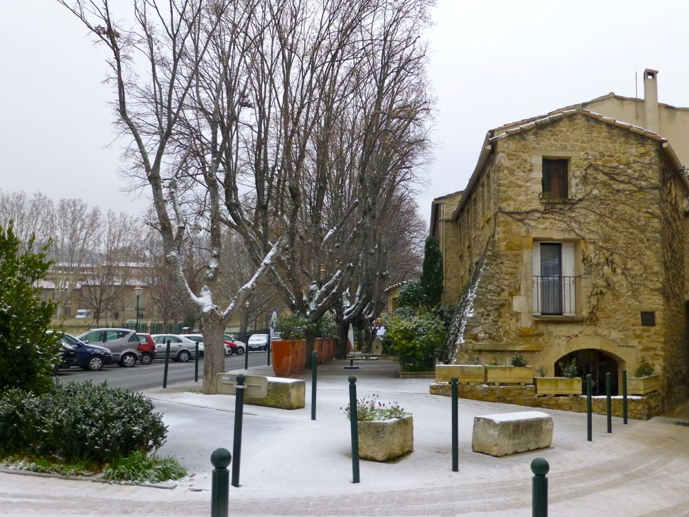 December snow in Lourmarin, Provence, France